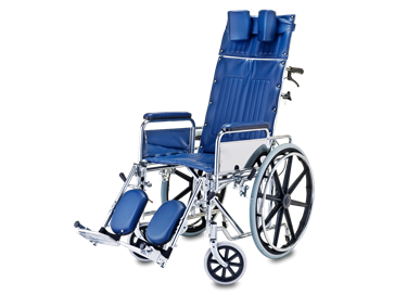 Picture of כסא גלגלים ריקליין עם הטיית גב ותמיכה לראש