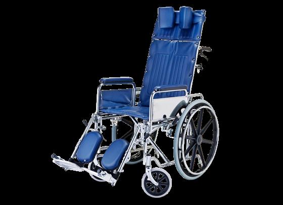 תמונה של כסא גלגלים ריקליין עם הטיית גב ותמיכה לראש