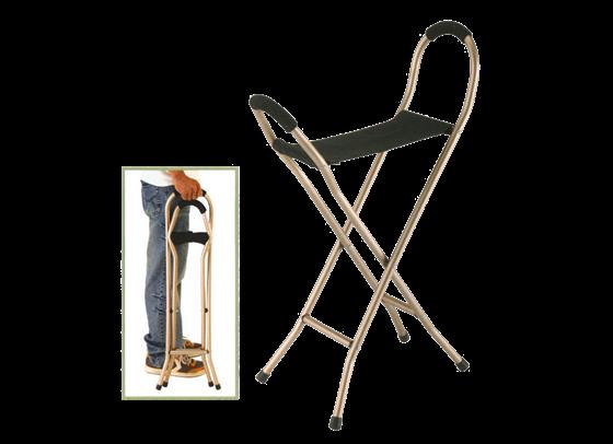 תמונה של מקל הליכה עם כסא לכבדי משקל