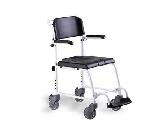תמונה של כסא רחצה ושירותים נוח עם גלגלים