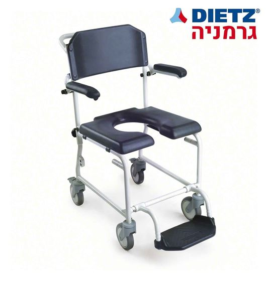 תמונה של כיסא רחצה ושירותים בעל ידיות ומושב מרופד