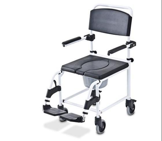 תמונה של כסא רחצה עם גלגלים ופתח U אלומיניום