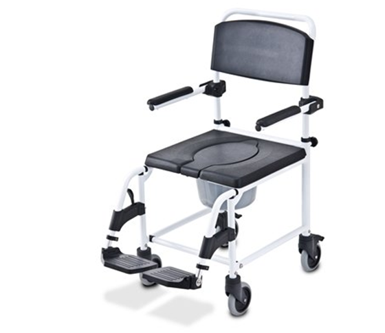 תמונה של כסא רחצה עם גלגלים ופתח U
