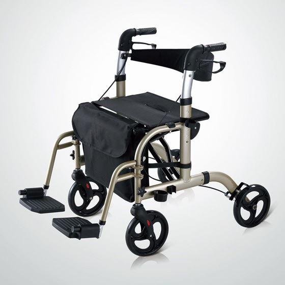 תמונה של רולטור 4 גלגלים קל משקל עם רגליות ומושב